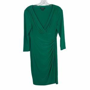 Lauren Ralph Lauren V Neck Emerald Green Dress
